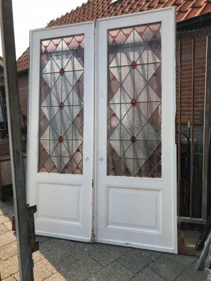 LEEN_Oude bouwmaterialen_Ensuite deuren glas in lood B62932