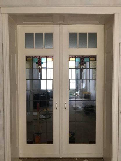 LEEN_Oude bouwmaterialen_Set ensuite deuren met glas C21610