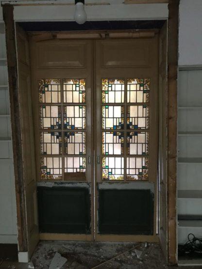 LEEN_Oude bouwmaterialen_Set ensuite deuren met glas D60266