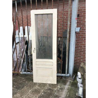 LEEN_Oude bouwmaterialen_Enkele deur met geëtst glas H13301