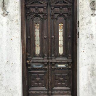 LEEN_Oude bouwmaterialen_Antieke dubbele voordeur met glas in lood & ornamentenF69189
