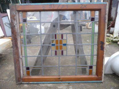LEEN_Oude bouwmaterialen_Set van 2 Glas in lood bovenramen 300.10.100090